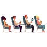 Olika passagerare, man och kvinnor i flygplanplatser vektor illustrationer