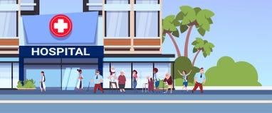 Olika patienter som går till det nya moderna sjukhuset som bygger begrepp för medicinsk klinik stock illustrationer