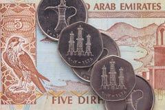 Olika pengar av den arabiska emiratdirhamen Arkivfoton