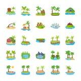 Olika platser av öar sänker symboler royaltyfri illustrationer
