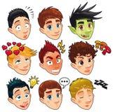 olika pojkeuttryck royaltyfri illustrationer