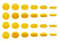 Olika positioner av guld- mynt Vektorillustrationer i tecknad filmstil stock illustrationer
