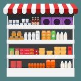 Olika produktaskar, packar och flaskor på hylla på lagret Design för plan och fast färg stock illustrationer