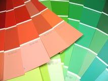 olika provkartor för färg Arkivbilder