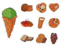 Olika rånkakor svamlar vektorn för mat för bagerit för den kräm- efterrätten för mellanmålet för kakabakelsekakan den ljusbruna l vektor illustrationer