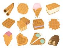 Olika rånkakor svamlar vektorn för mat för bagerit för den kräm- efterrätten för mellanmålet för kakabakelsekakan den ljusbruna l royaltyfri illustrationer