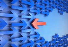 olika riktningar för pilar Arkivbilder
