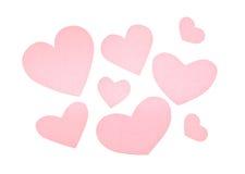 Olika rosa färgpappershjärtor Arkivfoto