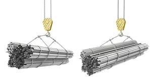 Olika rullande metallprodukter på en kran hakar på en vit stock illustrationer