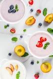 Olika söta krämiga frukt- & bärsoppor fotografering för bildbyråer