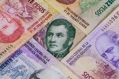 Olika sedlar från Argentina Royaltyfri Bild