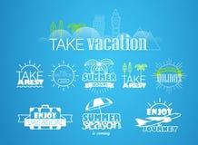 Olika semester- och turetiketter Fotografering för Bildbyråer