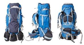 Olika sikter av blåttryggsäcken för att fotvandra som isoleras på vit bakgrund yrkesmässig ryggsäck för att fotvandra turer Royaltyfria Foton