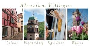 Olika sikter av elsassiska byar - collage med text arkivfoto