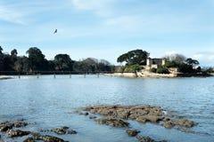 Olika sikter av en strand från en sommarsemesterort i La Coruna skäller Arkivbilder