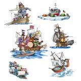 Olika skepp, fartyg och mer stock illustrationer