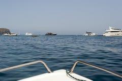 Olika skepp och yachter i havet Arkivfoton