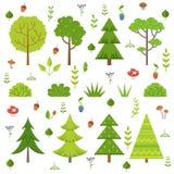 Olika skogväxter, trädchampinjoner och andra blom- beståndsdelar Isolat för tecknad filmvektorillustration på vit royaltyfri illustrationer