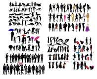olika slags silhouettes Fotografering för Bildbyråer