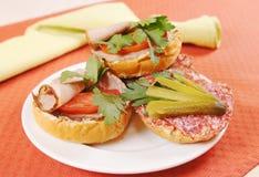 Olika smörgåsar på en platta Royaltyfria Foton