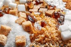 olika sockertyper Royaltyfria Bilder