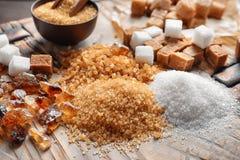 olika sockertyper Arkivbild