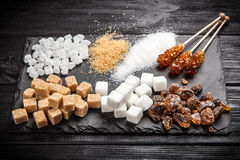 olika sockertyper Arkivfoto