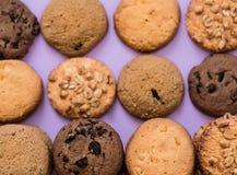 Olika sorter av hemlagade kakor Fotografering för Bildbyråer