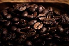 Olika sorter av kaffe på träplattan Selektivt fokusera signal Royaltyfri Foto