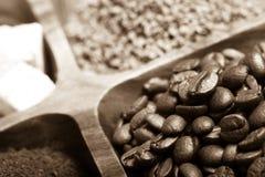 Olika sorter av kaffe på träplattan Selektivt fokusera signal Arkivfoto