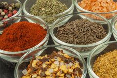 Olika sorter av kryddor i glass bunkar på en kritiserabakgrund Förberedelse för att laga mat kryddig mat Kryddor för ledar- kock Royaltyfri Fotografi