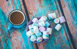Olika sorter av marshmallowen på tabellen Arkivbilder