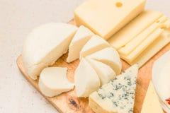 Olika sorter av ostar, med torkat kött royaltyfria foton