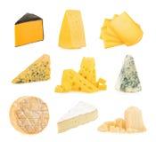 Olika sorter av ostar som isoleras på vit bakgrund royaltyfri foto