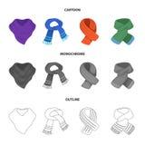 Olika sorter av scarves, scarves och sjalar Scarves och sjalar ställde in samlingssymboler i tecknade filmen, översikten, monokro Royaltyfria Bilder