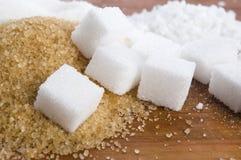 Olika sorter av sockerslutet upp Arkivbilder