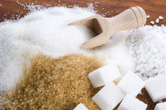 Olika sorter av sockerslutet upp Fotografering för Bildbyråer