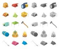 Olika sorter av tälttecknade filmen, mono symboler i den fastställda samlingen för design Tillfälligt skydd- och husvektorsymbol royaltyfri illustrationer