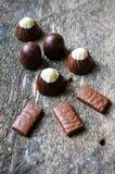 olika sorter för choklader Arkivfoton
