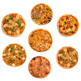 Olika sorter för collage av pizza Royaltyfri Foto