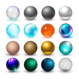 olika spheres Material och designbeståndsdelar stock illustrationer