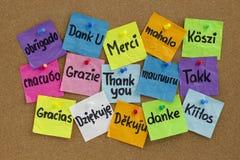 olika språk tackar dig Arkivbild