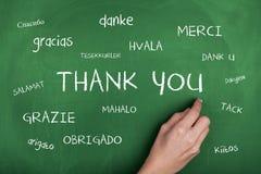 olika språk tackar dig Royaltyfri Fotografi