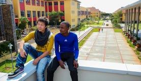 Olika studenter på högskolauniversitetsområde Arkivbild