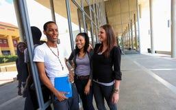 Olika studenter på högskolauniversitetsområde Royaltyfri Foto