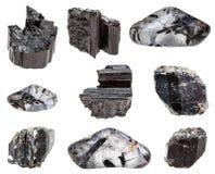 Olika svarta TourmalineSchorl gemstones Arkivbild