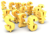 Olika symboler för nationell valuta för guld Fotografering för Bildbyråer