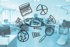 Olika symboler på exponeringsglas som föreställer digital marknadsföring Royaltyfri Bild