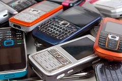 olika telefoner för cell fotografering för bildbyråer