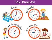 Olika tider och aktiviteter för ungar royaltyfri illustrationer